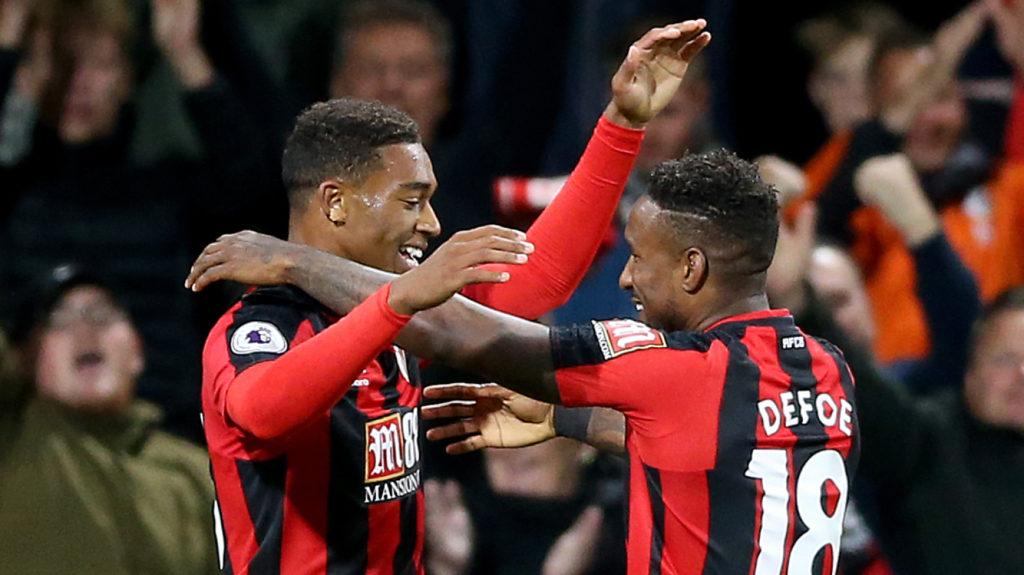 Jermain Defoe, right, scored in Bournemouth's win